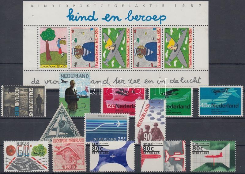 1929-1994 Repülő motívum 13 db bélyeg, köztük sorok + 1 db blokk, 1929-1994 Airplane motive 13 stamps with sets + 1 block