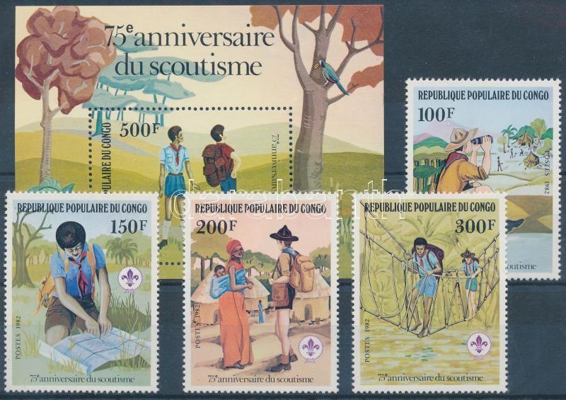 75th anniversary of Scout Movement set + block, 75 éves a cserkészmozgalom sor + blokk