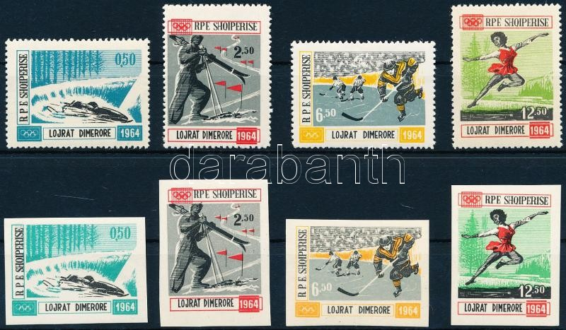 Winter Olympics, Innsbruck (I-II) perforated and imperf. set, Téli olimpia, Innsbruck (I-II) fogazott és vágott sor