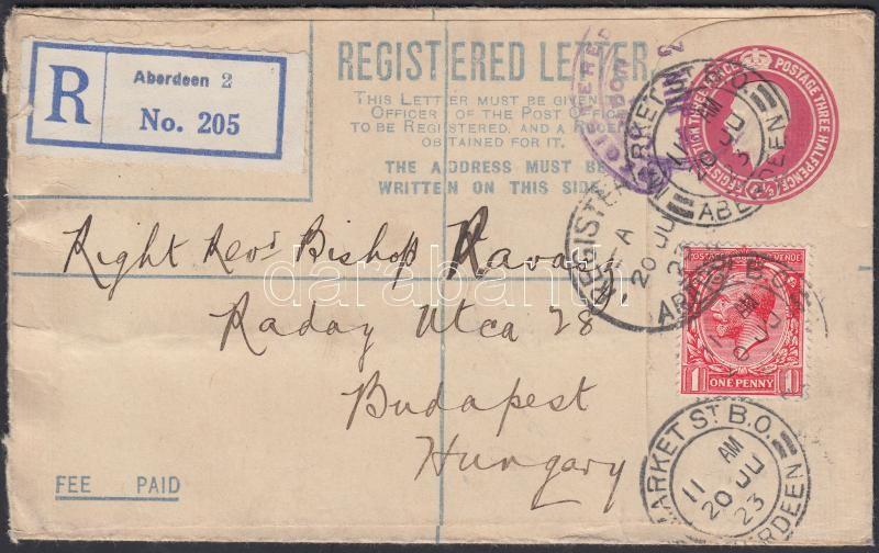 PS-card with additional franking from Aberdeen to Hungary, Díjkiegészített díjjegyes ajánlott boríték Aberdeenből Budapestre