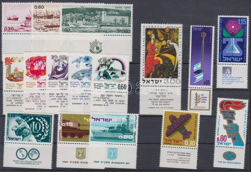 16 diff. stamps with tab, 16 klf tabos bélyeg