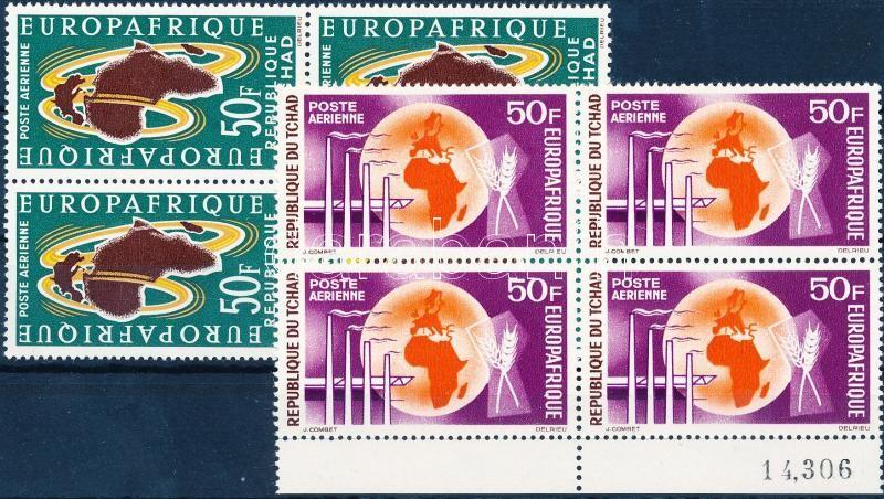 EUROPAFRIQUE European-African economic organization 2 blocks of 4 (1 margin), EUROPAFRIQUE Európai-afrikai gazdasági szervezet 2 négyestömb (egyik ívszéli)