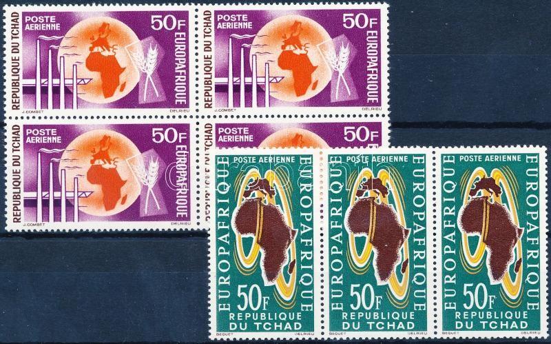 EUROPAFRIQUE European-African economic organization stripe of 3 + block of 4, EUROPAFRIQUE Európai-afrikai gazdasági szervezet hármascsík + négyestömb