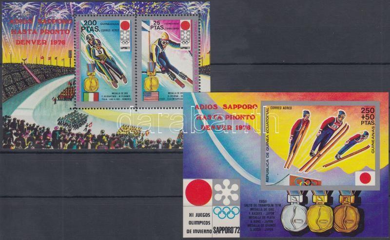 Winter Olympics, Sapporo perf. and imperf. block, Téli olimpia, Sapporo fogazott és vágott blokk