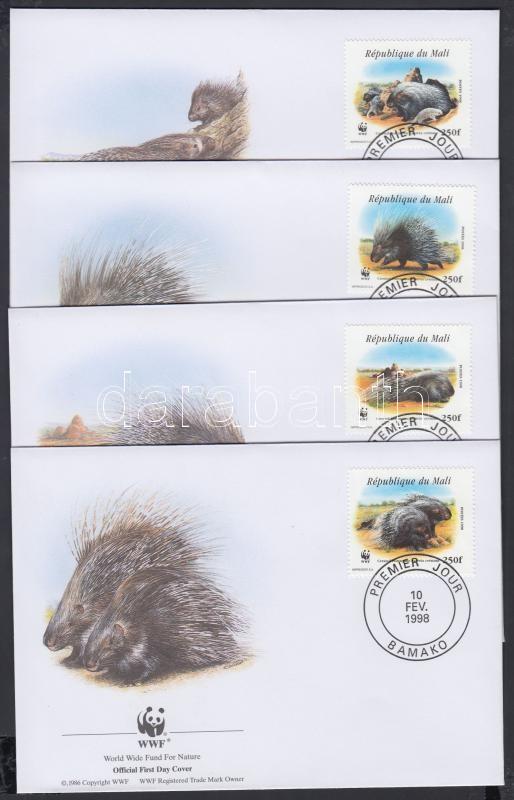 WWF North African porcupine set 4 FDC, WWF Észak-afrikai tarajos sül sor 4 FDC