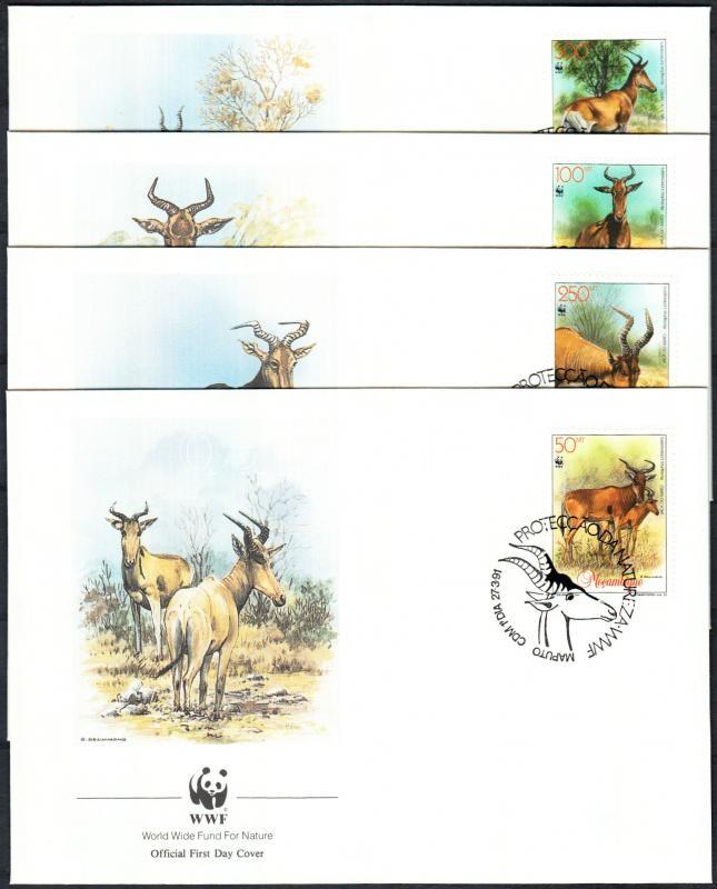 Antelope set on 4 FDC, Vörös tehénantilop sor 4 FDC
