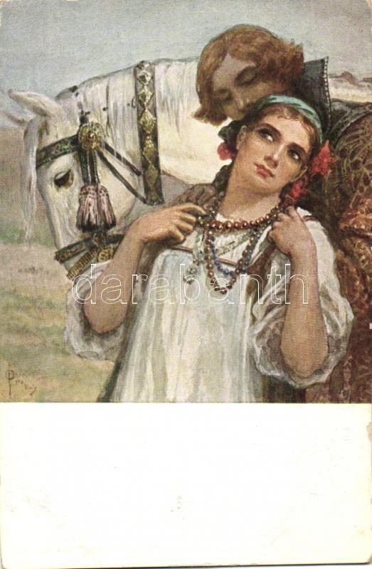 Abshied / Russian folklore, romantic couple with horse s: Solomko, Romantikus pár lóval, orosz folklór s: Solomko
