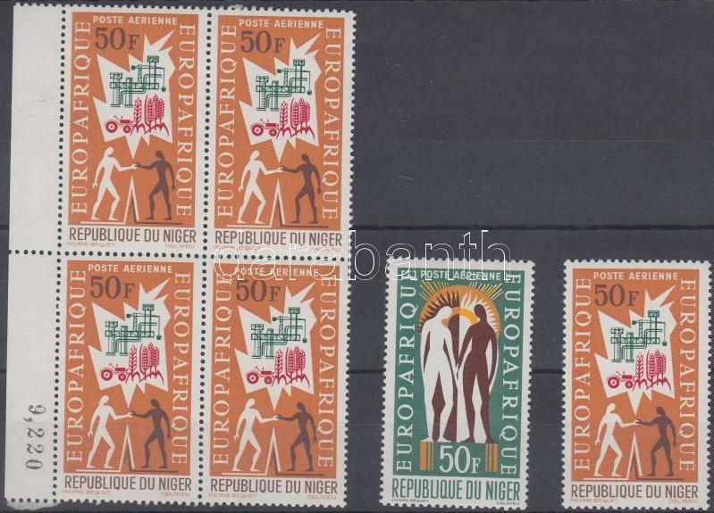 EUROPAFRIQUE 2 diff. stamps + margin block of 4, EUROPAFRIQUE 2 klf bélyeg + ívszéli négyestömb