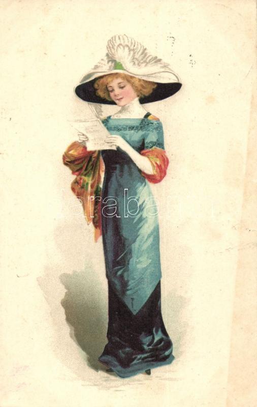 Lady with letter litho (wet damage), Levelet olvasó hölgy (ázott)