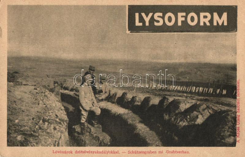WWI military card, trench, Lysoform advertisement on the backside, Lövészárok drótsövényakadályokkal, a Képes Újság felvételei; hátoldalán Lysoform reklám