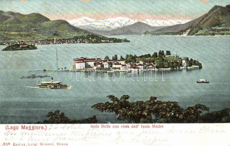 Isola Bella, Isola Madre, Lago Maggiore / islands, lake, steamship
