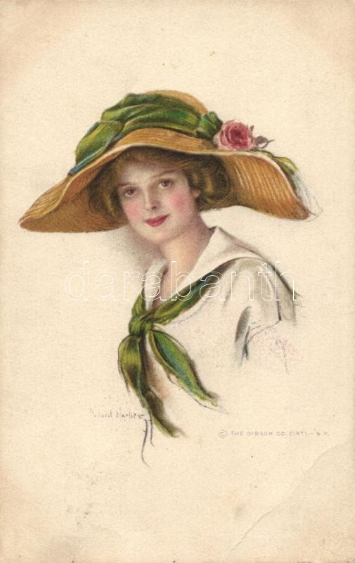 Lady with hat, Gibson Art. Co. litho s: Ford Harper, Kalapos hölgy, Gibson Art. Co. litho s: Ford Harper