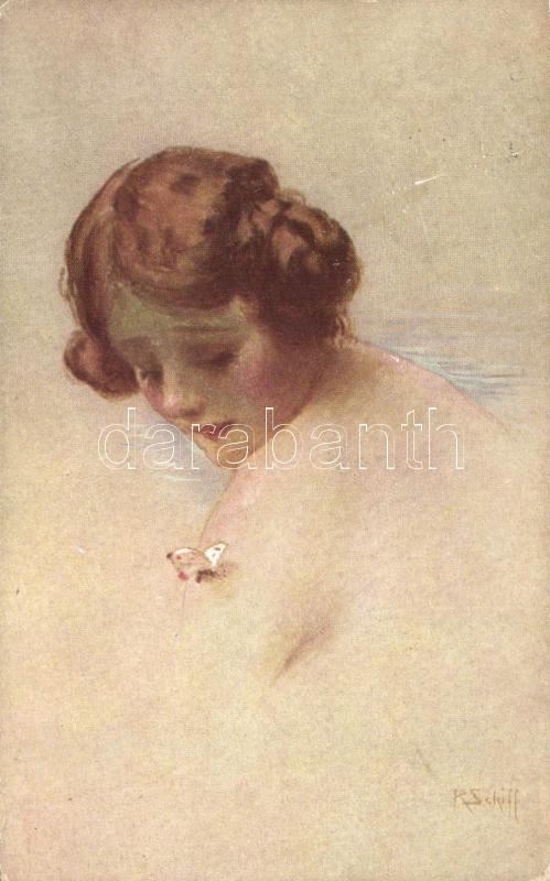 Lady with butterfly s: R. Schiff, Hölgy pillangóval s: R. Schiff