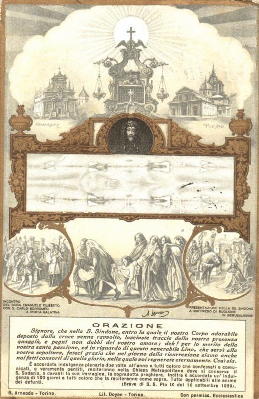 Orazione / Shroud of Turin, Torino and Chambéry, Jesus Christ, golden decoration, Art Nouveau, A torinói lepel, Torino és Chambéry, Jézus Krisztus, olasz nyelvű szónoklat, aranyozott díszítésű Art Nouveau képeslap