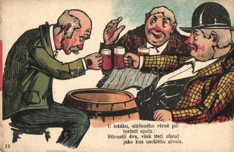 Humorous graphic card, beer drinking men litho, Sör ivó férfiak, humor, litho