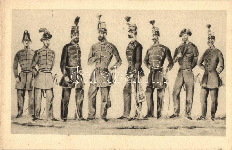 Magyar törzstisztek; árkász, vadász, tüzér, tábornok, huszár, honvéd, Hunyadi lovas, Nemzetőr, Hungarian military officers in 1848