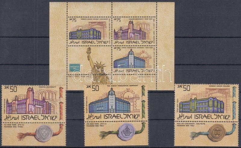 AMERIPEX International Stamp Exhibition set with tab and phosphor stripe + block, AMERIPEX nemzetközi bélyegkiállítás tabos sor foszforcsíkkal + blokk