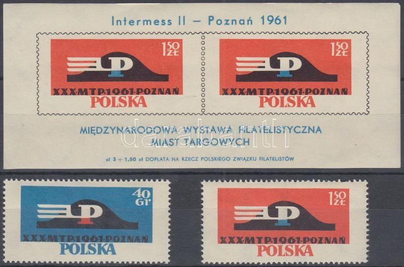 International Stamp Exhibition perforated set + imperforated block, Nemzetközi bélyegkiállítás fogazott sor + vágott blokk
