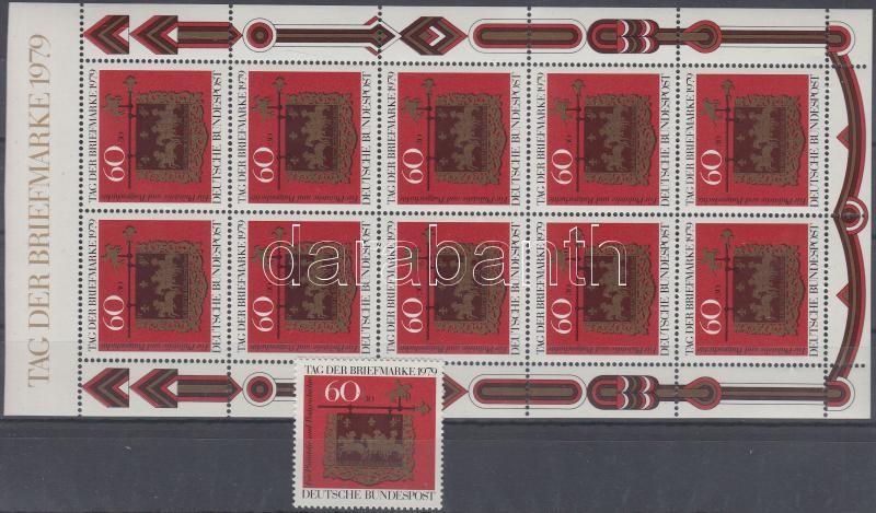 Stamp Day stamp + minisheet, Bélyegnap bélyeg + kisív
