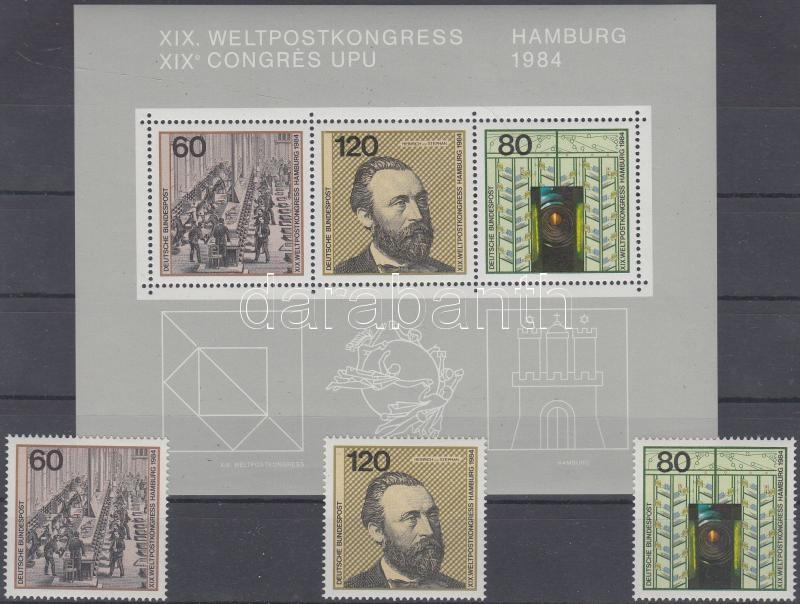 World Postal Congress stamps from block + block, Postai világkongresszus blokkból kitépett bélyegek + blokk