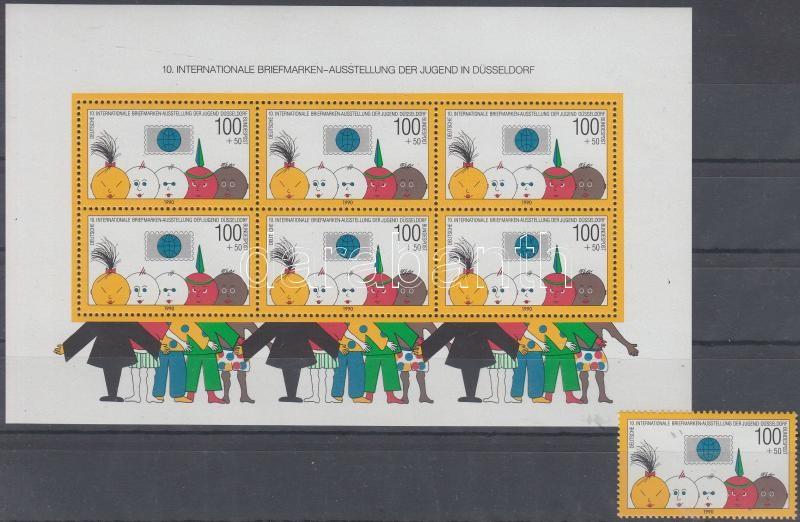 International Youth Stamp Exhibition stamp from block + block, Nemzetközi ifjúsági bélyegkiállítás blokkból kitépett bélyeg + blokk