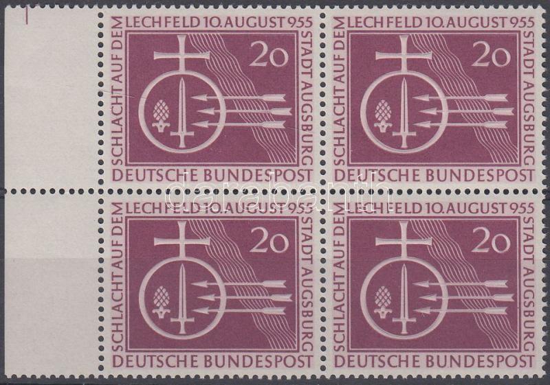 Millennium of Battle of Lechfeld margin block of 4, A lechfeldi csata 1000. évfordulója ívszéli négyestömb