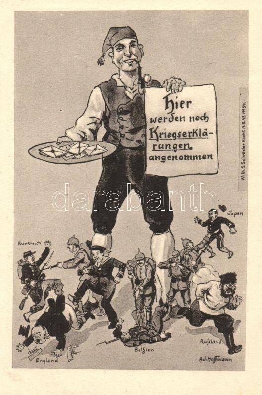 Hier werden noch Kriegserklärungen angenommen / German military propaganda, humour s: Ad. Hoffmann, Humoros német katonai propaganda s: Ad. Hoffmann