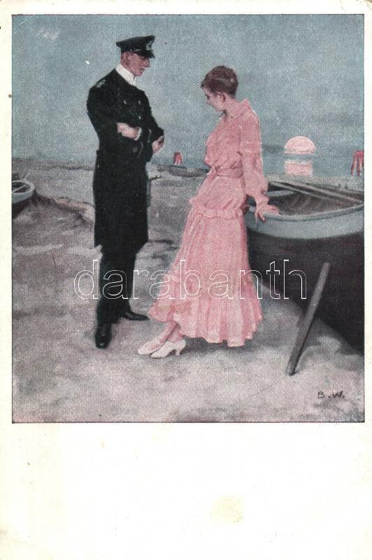 Kriegspostkarten von B. Wennerberg Nr. 21. Am Strand / German WWI propaganda s: Wennerberg, I. világháborús német propaganda, Kriegspostkarten von B. Wennerberg Nr. 21. s: Wennerberg