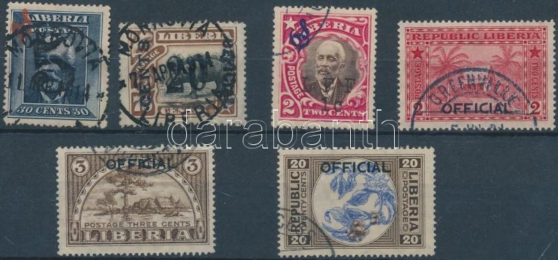 1914-1921 6 diff official overprinted stamps, 1914-1921 6 klf hivatalos felülnyomott bélyeg