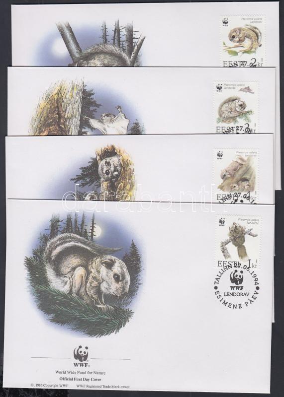 WWF ordinary flying squirrel set on 4 FDC, WWF közönséges repülőmókus sor 4 FDC