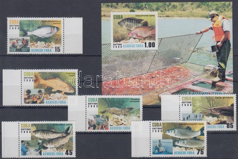 Aquaculture perforated margin set + imperforated block, Akvakultúra fogazott ívszéli sor + vágott blokk