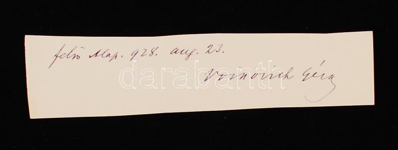 Voinovich Géza (1877-1952) irodalomtörténész, esztéta, a Magyar Tudományos Akadémia tagja aláírása