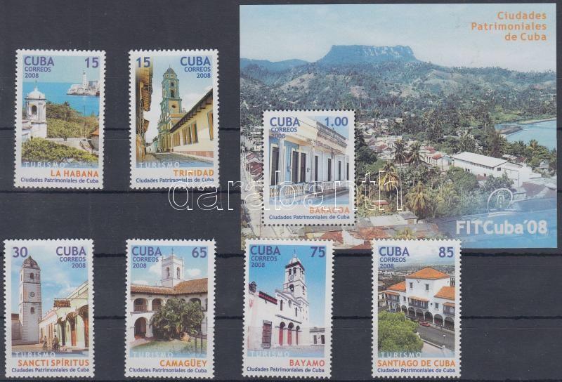 FITCuba international tourist fair set + imperforated block with printed perforation, FITCuba nemzetközi turistavásár fogazott sor + vágott blokk nyomtatott fogazással