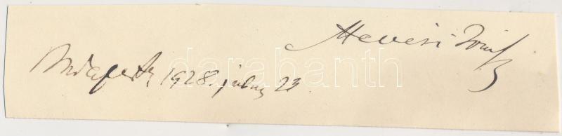 Hevesi József (1857-1929) író, újságíró, a Magyar Salon szerkesztőjének aláírása