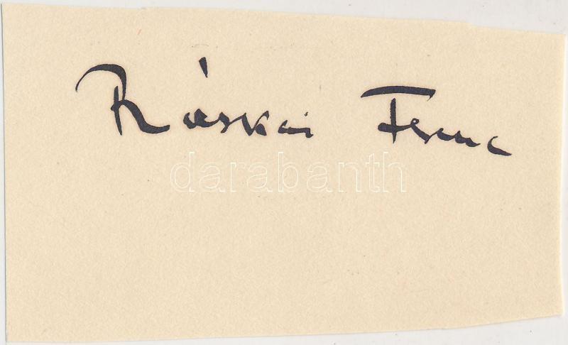 Ráskai Ferenc (1883-1942) magyar író, újságíró aláírása