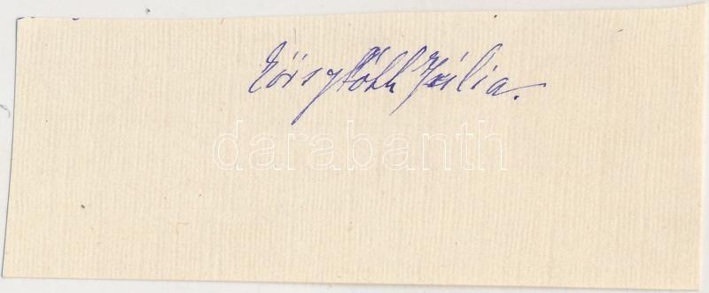 Eöry Tóth Júlia (1889-1958) író aláírása
