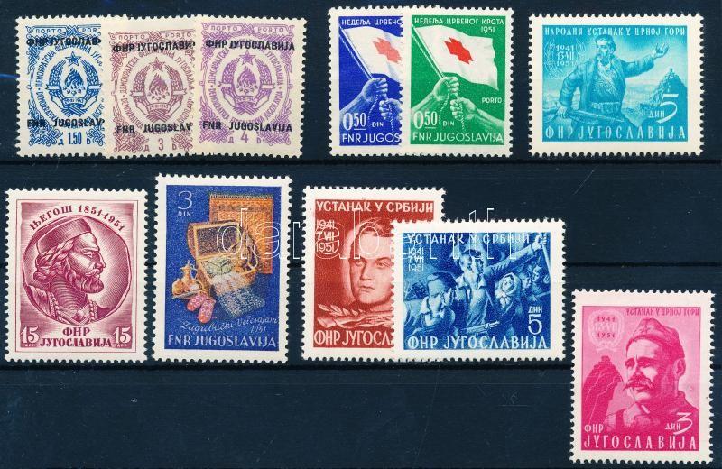 4 klf portó + 1 kényszerfeláras bélyeg + 6klf bélyeg, 4 diff. postage due + 1  Compulsory surtax + 6 diff. stamps