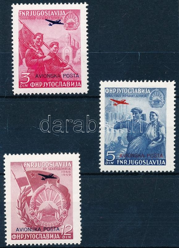 Airmail stamps in overprinted set, Légiposta bélyegek felülnyomott sor