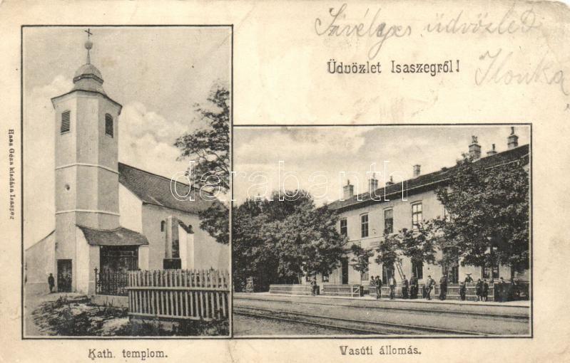 Isaszeg, vasútállomás, Katolikus templom (ázott / wet damage)