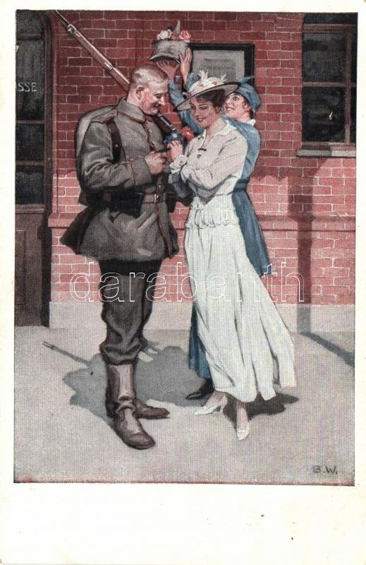 Kriegspostkarten von B. Wennerberg Nr. 8. Vor der Abfahrt / German WWI propaganda s: Wennerberg, I. világháborús német propaganda, Kriegspostkarten von B. Wennerberg Nr. 8. s: Wennerberg
