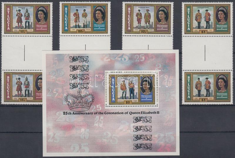 25th anniversary of Queen Elizabeth's coronation minisheet set in sheetcentered pairs + block, II. Erzsébet koronázásának 25. évfordulója sor ívközéprészes párokban + blokk