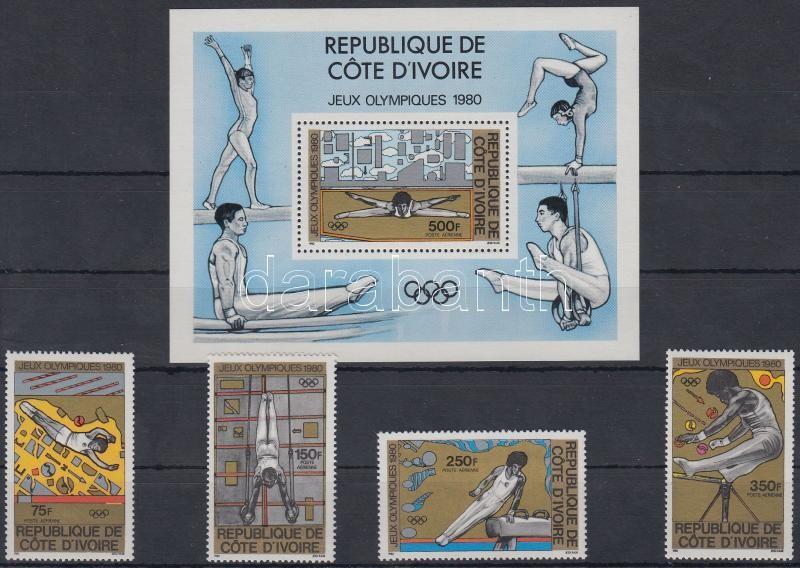 Summer Olympics, 1980 set + block, Nyári olimpia, 1980 sor + blokk