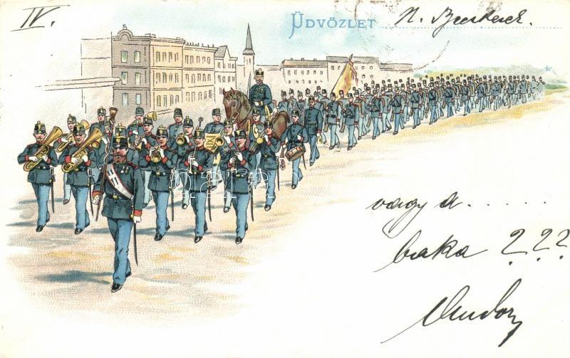 1899 Hungarian Infantry Regiment parade litho, 1899 Magyar gyalogsági ezred felvonulása, litho