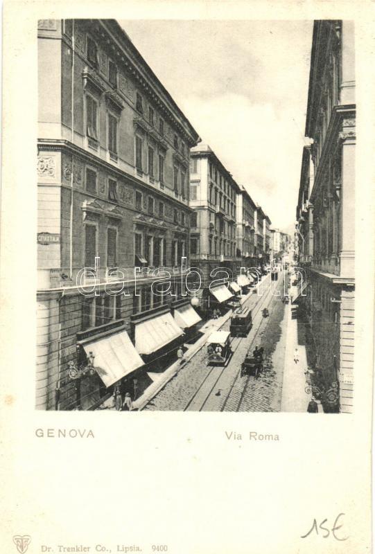 Genova, Via Roma / street, tram