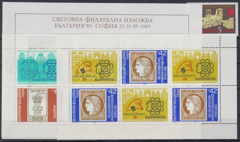 International Stamp Exhibition; PLOVDIV + imperf. block + INDIA and PHILEXFRANCE minisheet, Nemzetközi Bélyegkiállítás; PLOVDIV + vágott blokk + INDIA és PHILEXFRANCE kisív