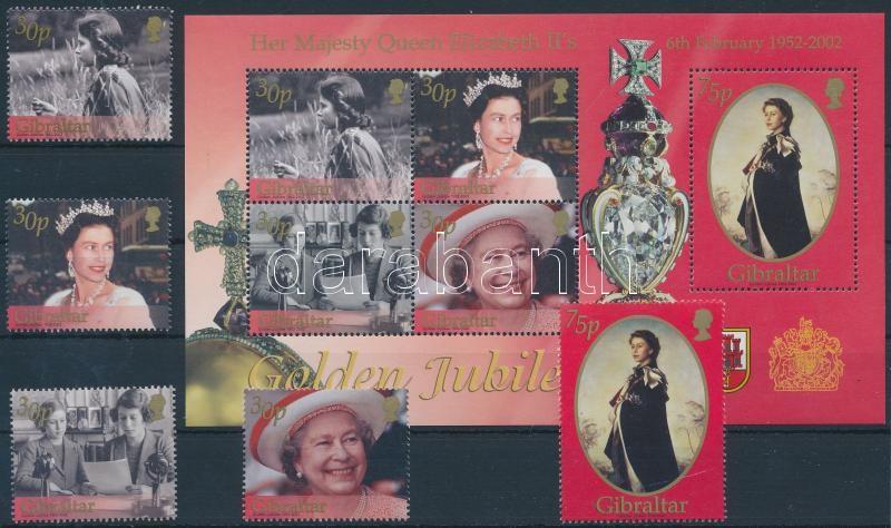 Elozabeth II. set + block, II. Erzsébet trónralépésének 50. évfordulója sor + blokk