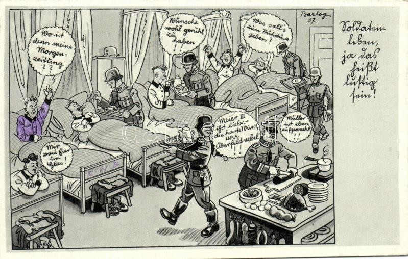 II. világháborús német laktanya, humor, German WWII military barracks interior cartoon, humour