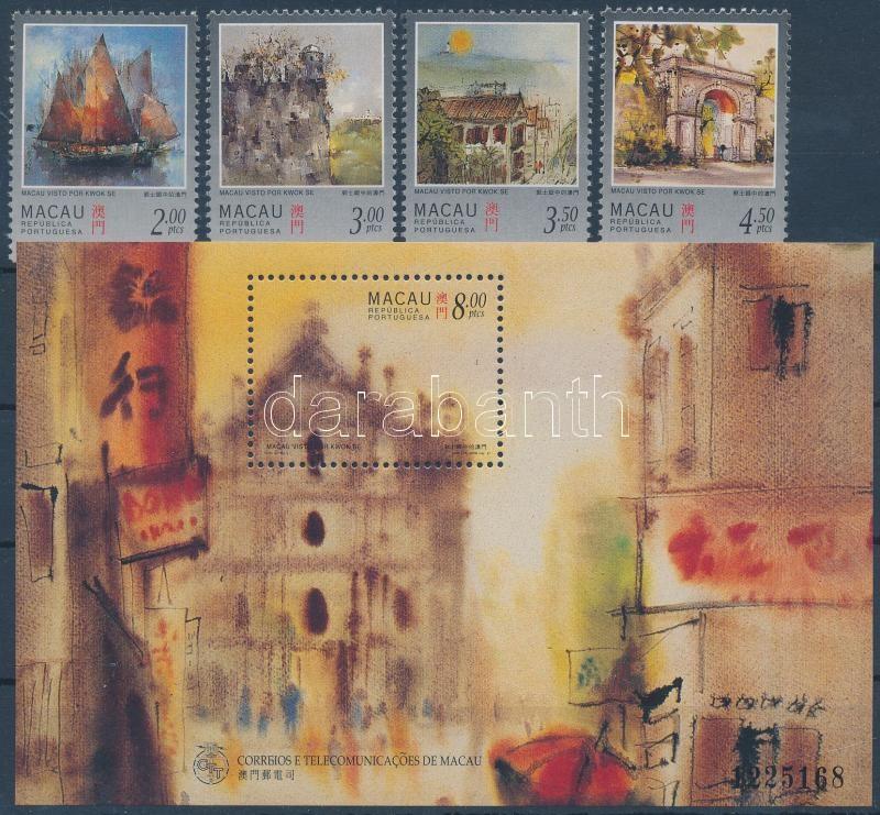 Macau views set + numbered block, Makaói látképek sor + sorszámozott blokk