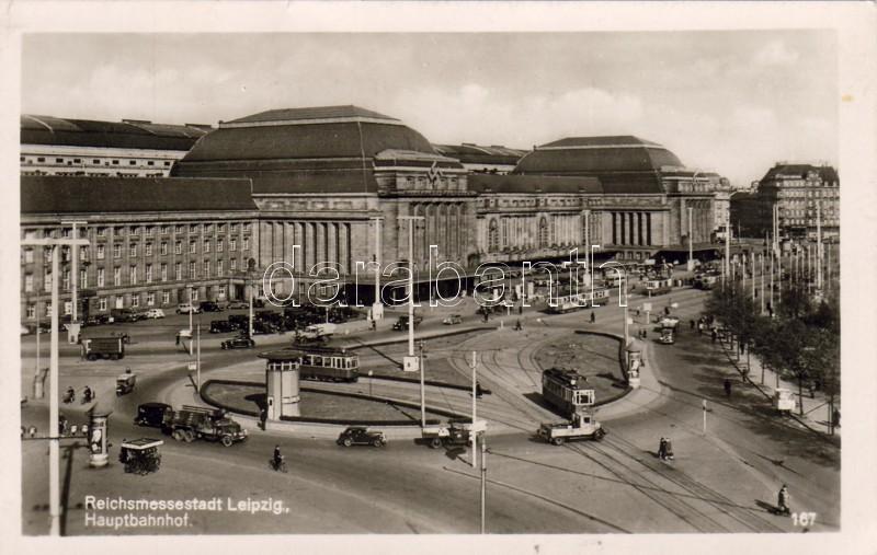Leipzig, Reichsmessestadt, Hauptbahnhof / railway station, trams, automobile '1941 Reichsmesse in Leipzig Herbst' So. Stpl