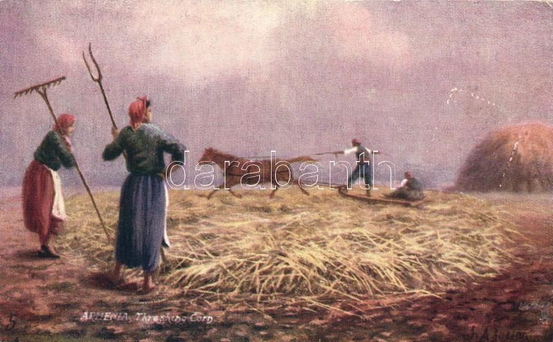 Threshing corn, Armenian folklore, Raphael Tuck & Sons 'Oilette'
